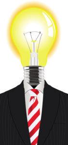 Man with a lightbulb instead of the head