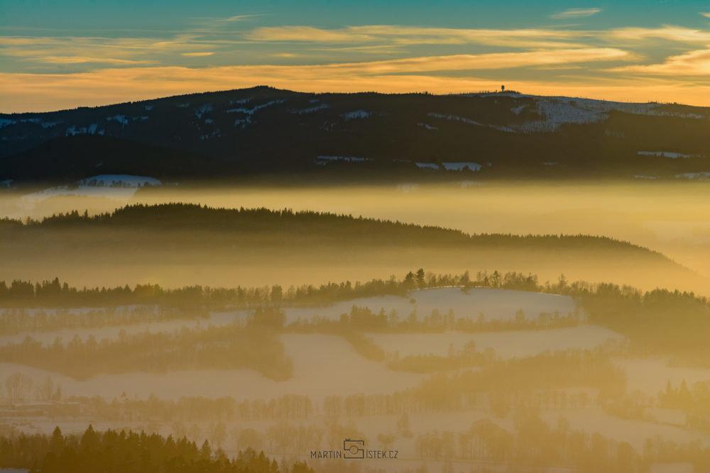 Poledník, západ slunce Kašperské hory